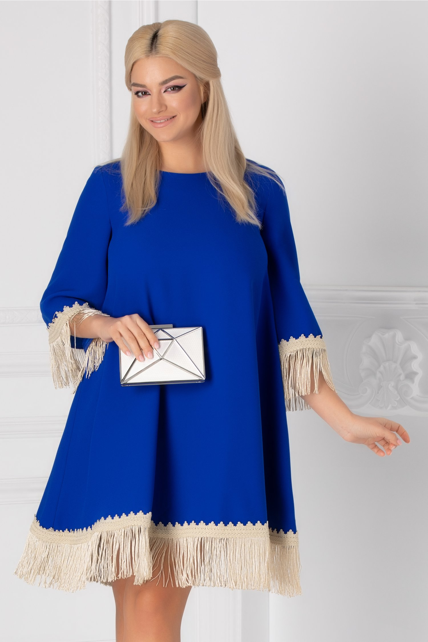 Rochie LaDonna albastra cu broderie handmade si franjuri