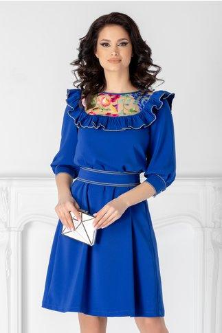 Rochie LaDonna albastra cu dantela si volane la bust