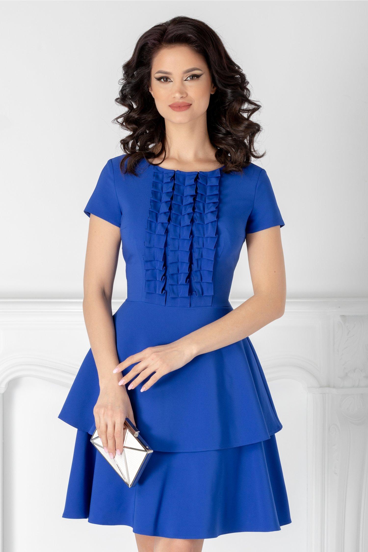 Rochie LaDonna albastra cu volanase