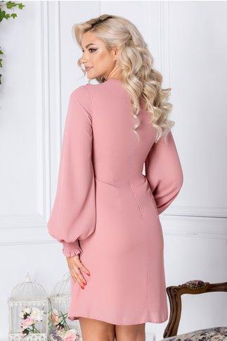 Rochie LaDonna Aria roz cu volnase si cordon la decolteu