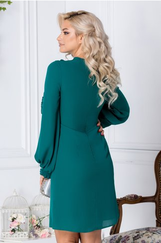 Rochie LaDonna Aria verde cu volanase si cordon la decolteu