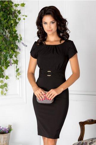 Rochie LaDonna Ary neagra conica cu aplicatie in talie