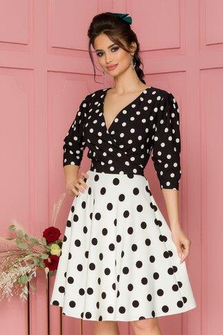 Rochie LaDonna bicolora cu buline alb-negru