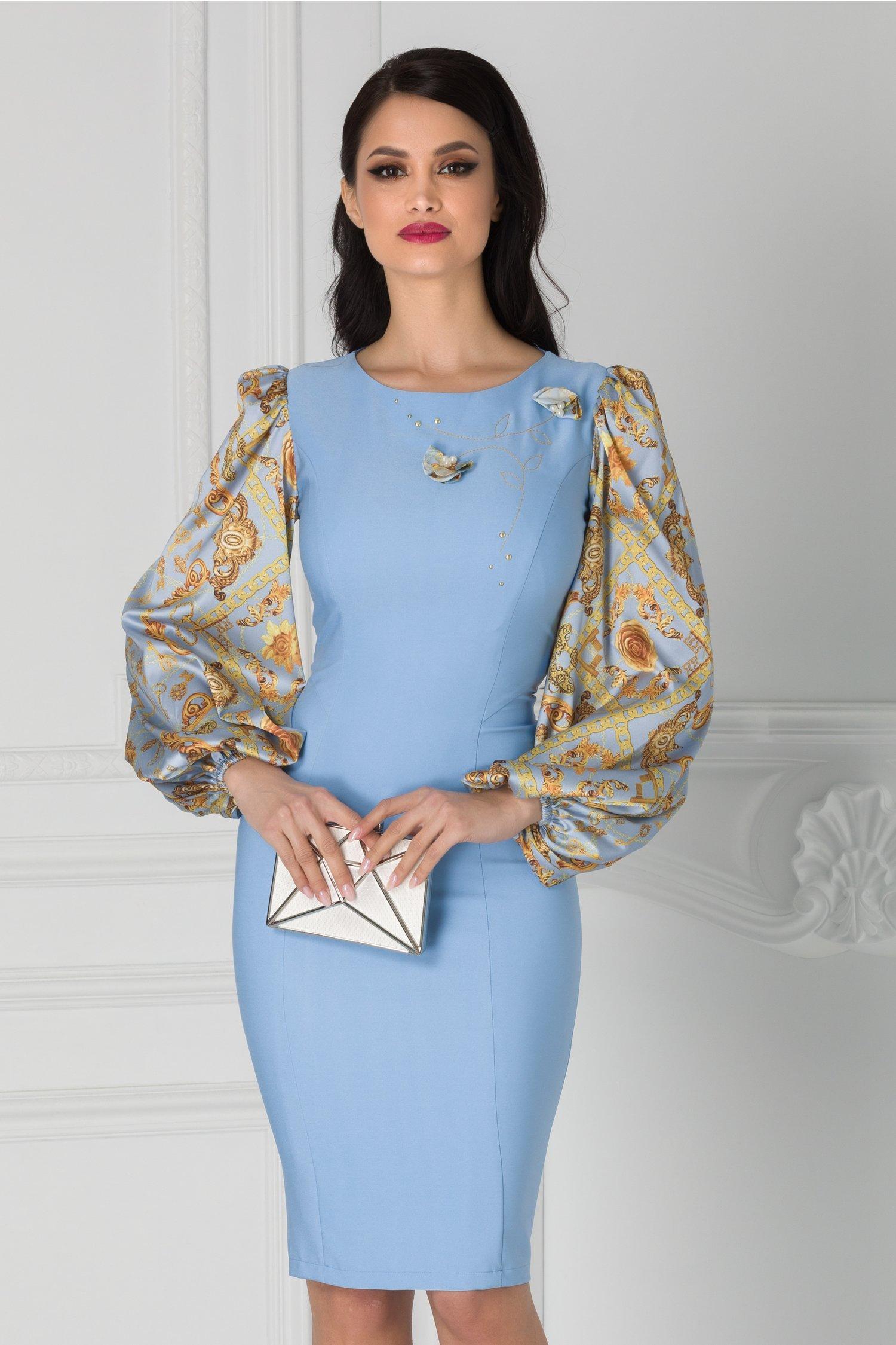 Rochie LaDonna bleu cu imprimeuri galbene la maneci