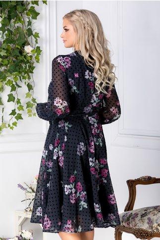 Rochie LaDonna bleumarin cu flori fucsia si buline