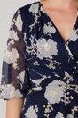 Rochie LaDonna bleumarin cu imprimeu floral alb si insertii aurii
