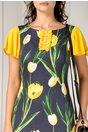Rochie LaDonna bleumarin cu lalele galbene si manecute