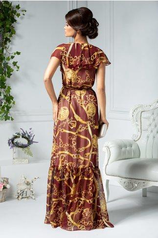 Rochie Ladonna bordo lunga petrecuta cu imprimeu galben