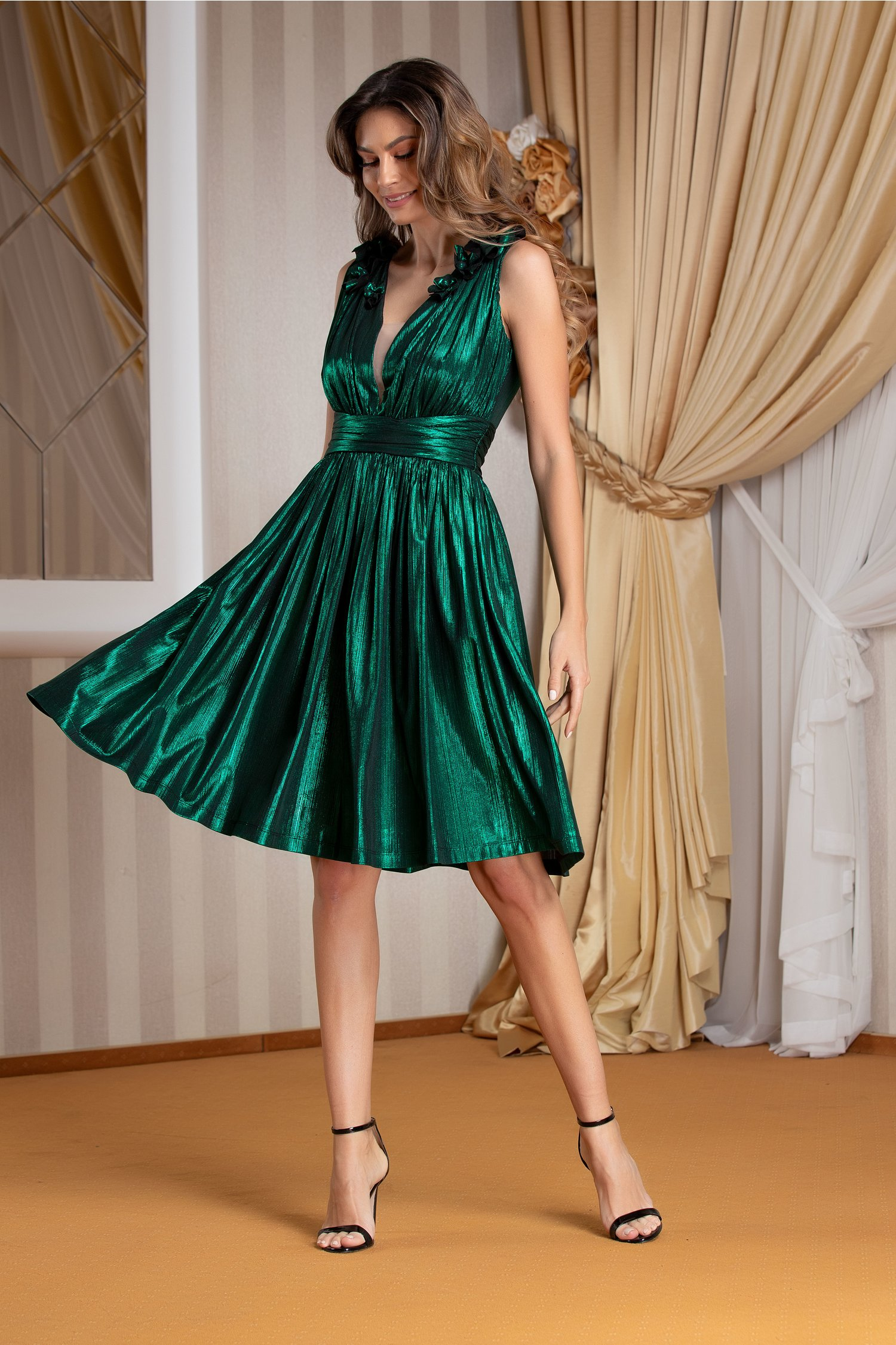 Rochie Ladonna Brigitta de ocazie verde metalizat