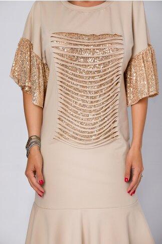 Rochie LaDonna by Catalin Botezatu beige cu manecile tip clopot si insertii din paiete aurii