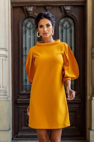 Rochie LaDonna by Catalin Botezatu galbena cu maneci stilizate