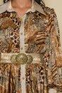 Rochie LaDonna by Catalin Botezatu lunga cu animal print si cordon sidefat in talie