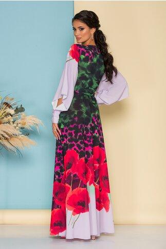 Rochie LaDonna by Catalin Botezatu lunga cu imprimeu floral si maneci albe