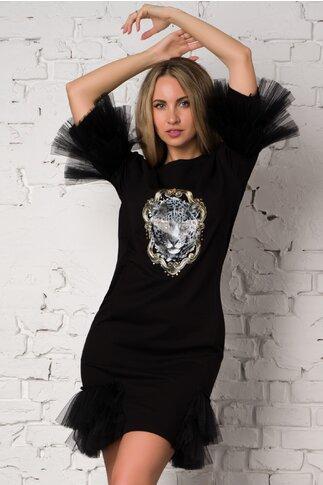 Rochie LaDonna by Catalin Botezatu neagra accesorizata cu tull