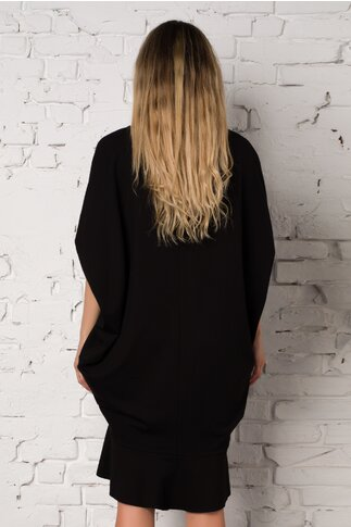 Rochie LaDonna by Catalin Botezatu neagra cu franjuri si insertii din paiete negre