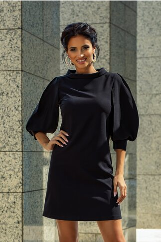 Rochie LaDonna by Catalin Botezatu neagra cu maneci stilizate