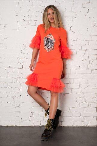 Rochie LaDonna by Catalin Botezatu orange accesorizata cu tull