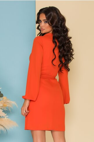 Rochie LaDonna by Catalin Botezatu orange cu cordon in talie