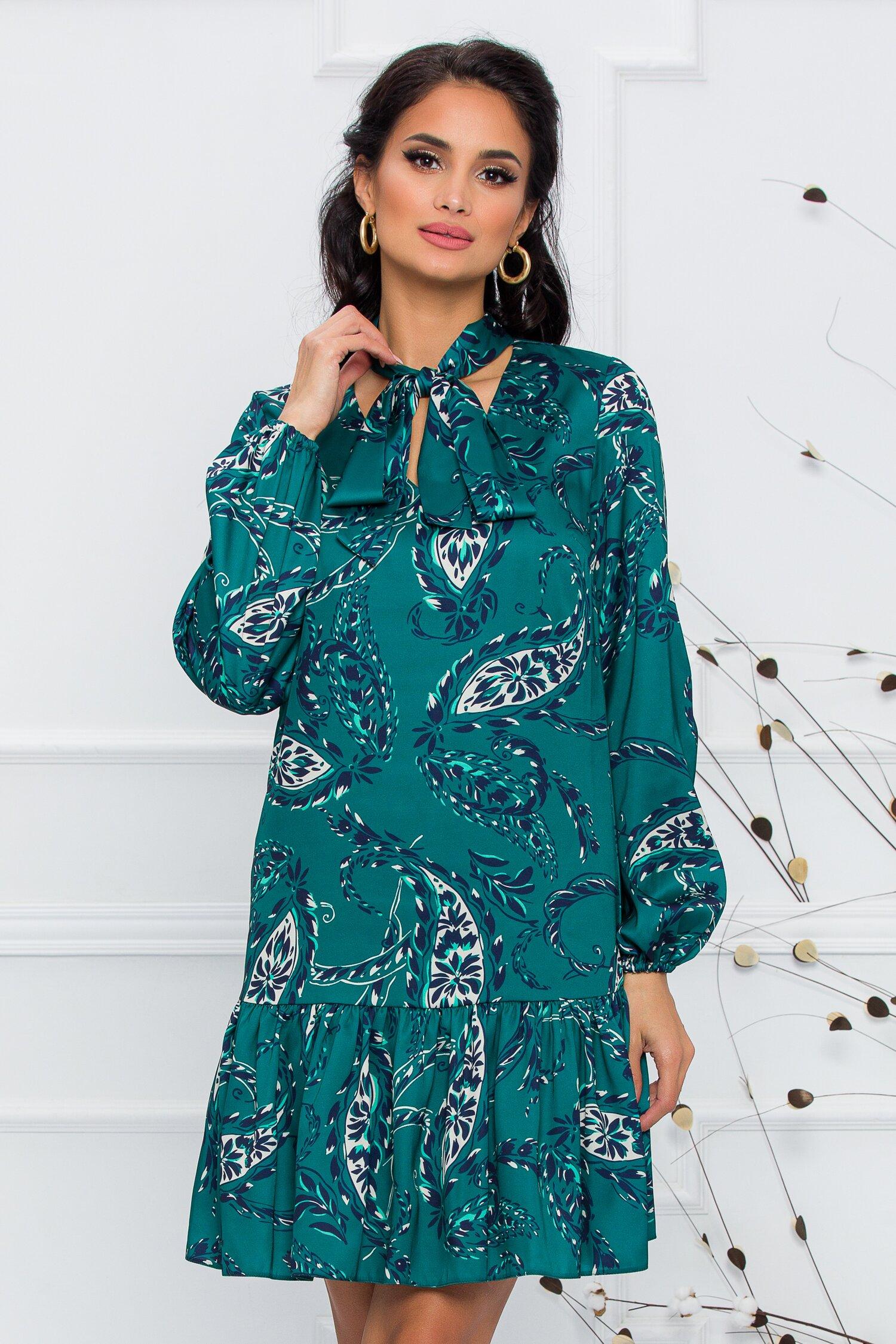 Rochie LaDonna by Catalin Botezatu verde smarald cu imprimeuri florale si guler tip esarfa