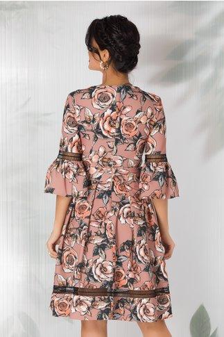 Rochie LaDonna cappuccino cu imprimeu floral si insertii din dantela