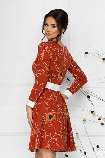 Rochie LaDonna caramizie cu imprimeu floral si talie marcata