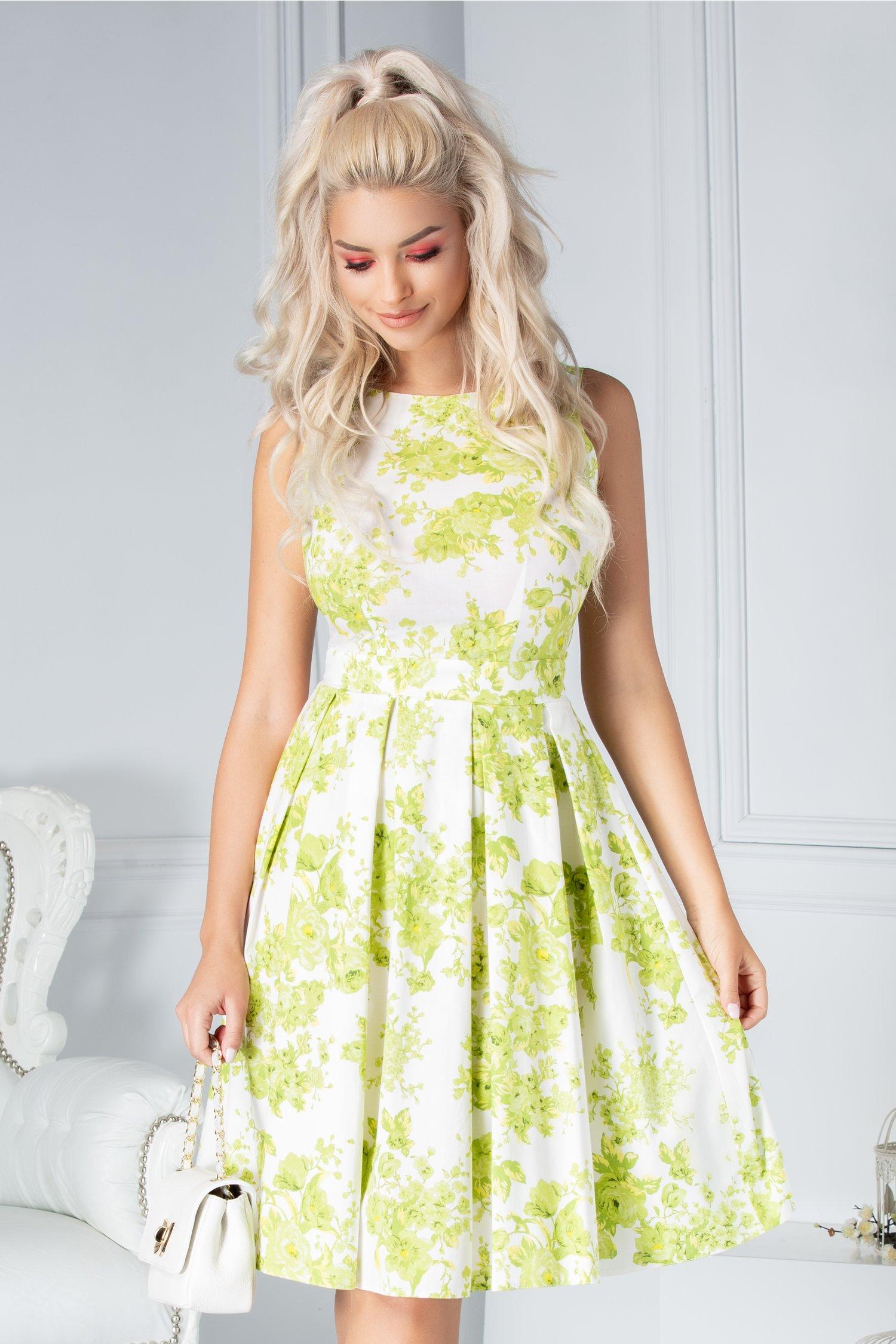 Rochie LaDonna clos de vara alba cu flori verzi