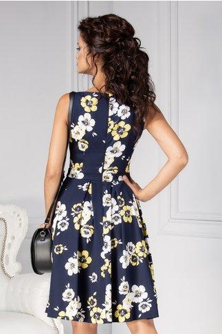 Rochie LaDonna clos de vara bleumarin cu flori galbene