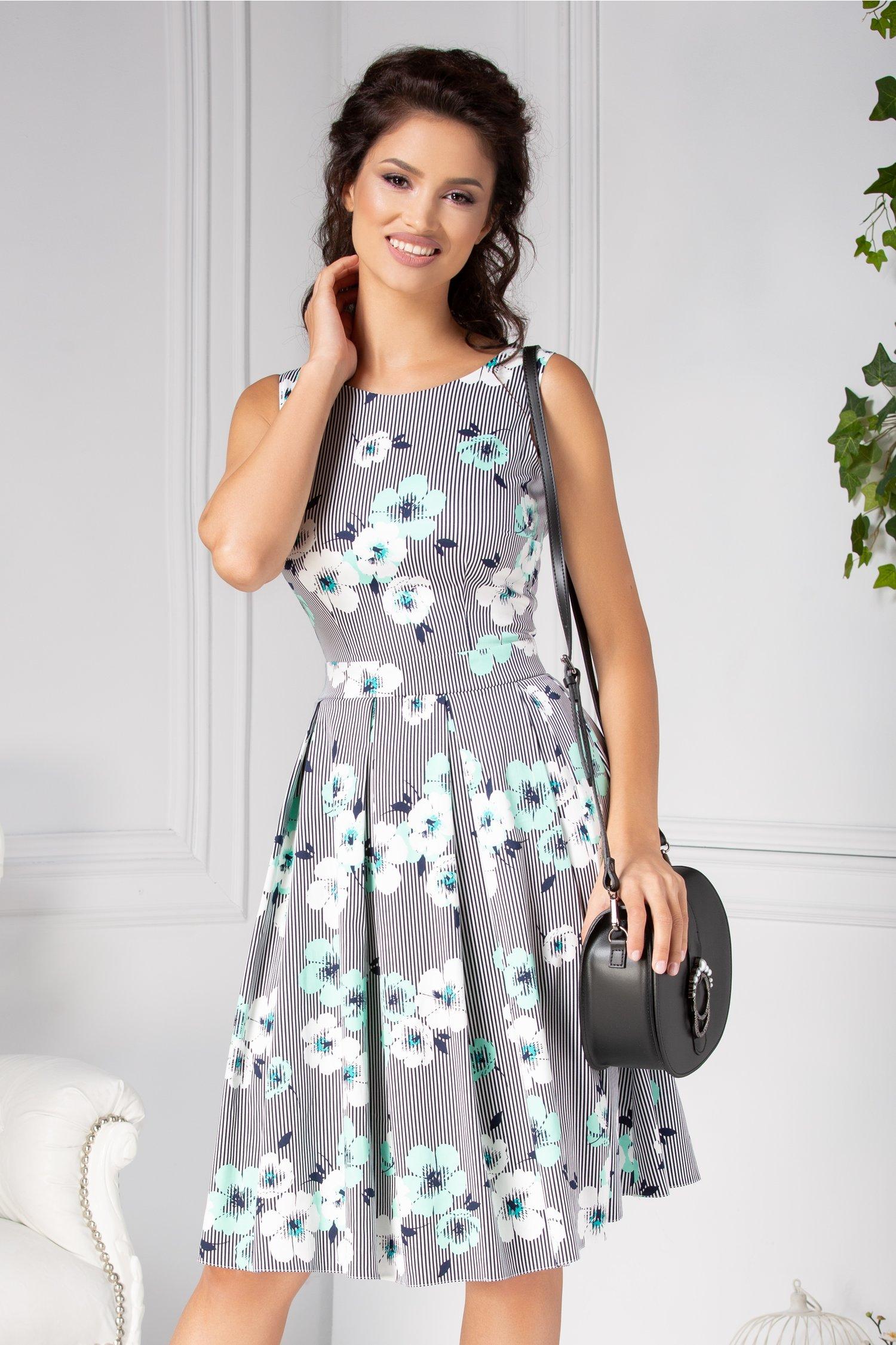 Rochie LaDonna clos de vara cu dungi si flori turcoaz
