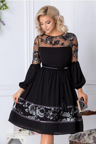 Rochie LaDonna clos neagra cu flori gri brodate
