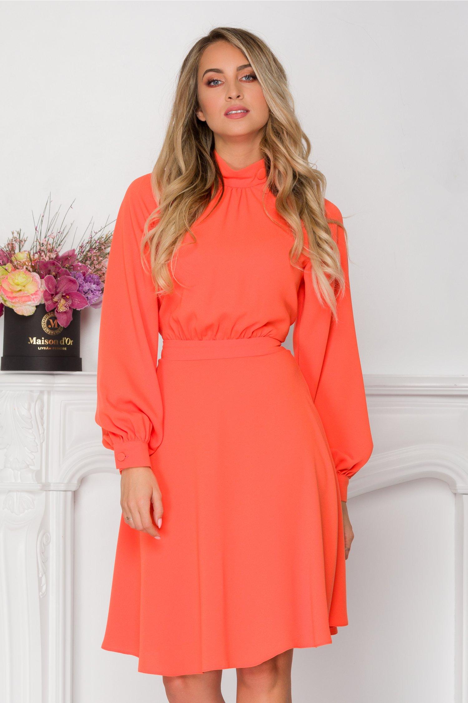 Rochie LaDonna clos orange cu nasturi la bust