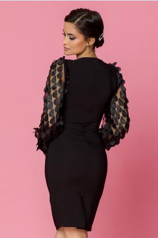 Rochie LaDonna conica neagra cu aplicatii pe maneci