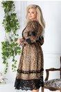 Rochie LaDonna cu animal print maro si detalii vintage
