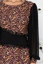 Rochie LaDonna cu imprimeu animal print si maneci lejere din voal