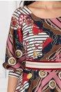 Rochie LaDonna cu imprimeu marinaresc si dungi roz