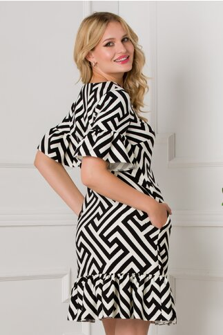 Rochie LaDonna cu imprimeu tip labirint negru