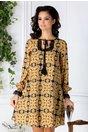 Rochie LaDonna cu imprimeu vintage galben