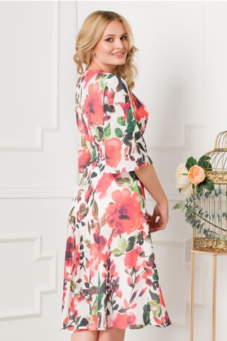 Rochie LaDonna cu imprimeuri florale corai