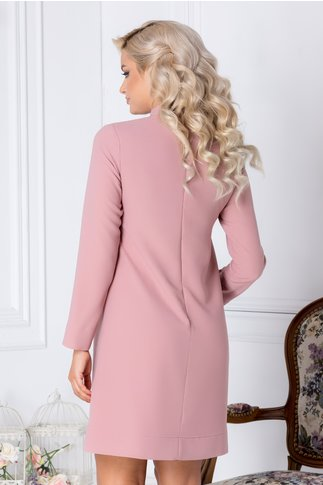 Rochie LaDonna Dary roz eleganta cu volanas