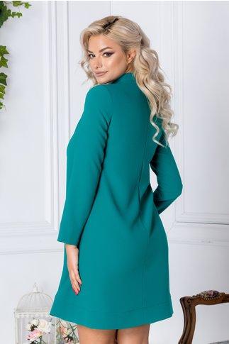 Rochie LaDonna Dary turcoaz eleganta cu volanas