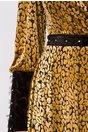 Rochie LaDonna din tull cu aplicatii animal print din catifea galben mustar