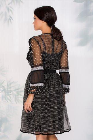 Rochie LaDonna din tull negru cu buline albe