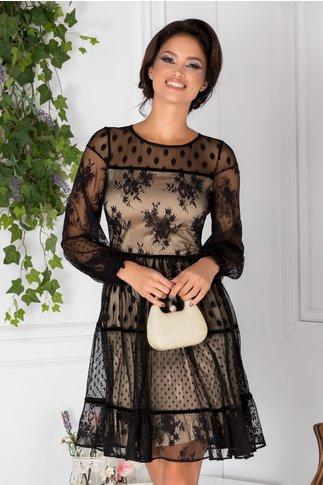 Rochie LaDonna din tull negru cu insertii florale si buline