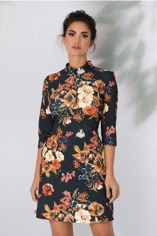 Rochie LaDonna evazata neagra cu imprimeuri florale