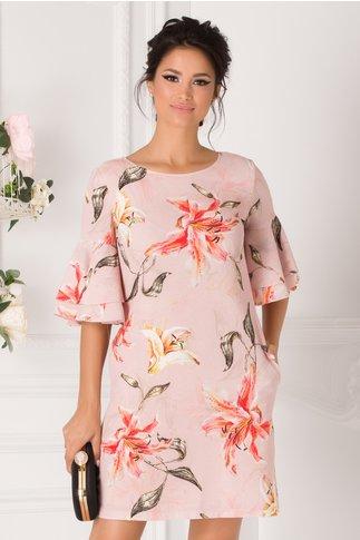 Rochie LaDonna evazata roz cu flori cu volane la maneci