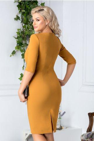 Rochie LaDonna galben mustar conica eleganta