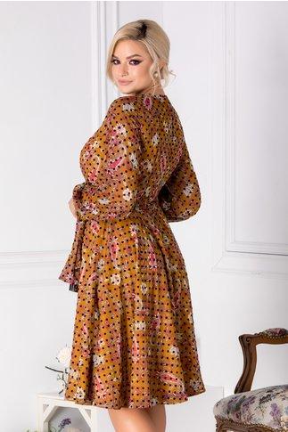 Rochie LaDonna galben mustar cu imprimeu floral si buline