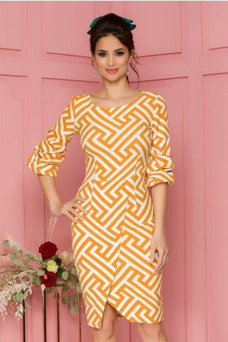 Rochie LaDonna galben mustar cu imprimeu in dungi zigzag si maneci in valuri