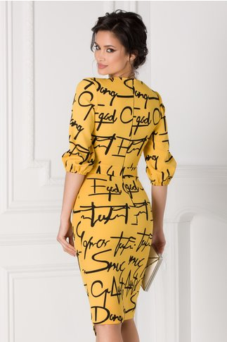 Rochie LaDonna galben mustar petrecuta cu text imprimat