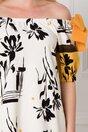 Rochie LaDonna ivoire cu imprimeu divers geometric si floral