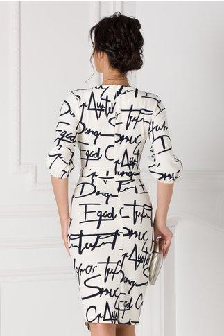 Rochie LaDonna ivoire petrecuta cu text imprimat